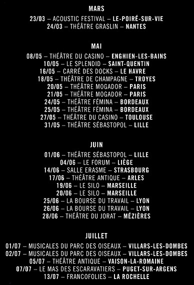 JLA - Dates Tournée Prémixes